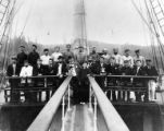 Crew on the deck of the four-masted bark ALICE A. LEIGH, Washington, ca. 1900
