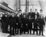 Crew of the three-masted ship ARCTIC STREAM on deck, Washington, ca. 1900