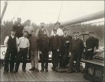 Crew on the deck of the sailing vessel SAINT MUNGO, Washington, ca. 1904.