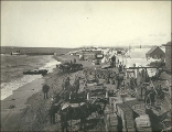 Horses and carts moving supplies on the beach, Nome, Alaska, ca. 1900.