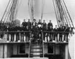 Crew of the three-masted sailing vessel BENICIA on deck, Washington, ca. 1900