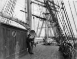 Captain Robert Roberts on deck of his ship BOADICEA, Washington, ca. 1900.