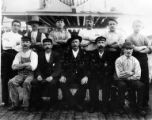 Crew of three-masted transport BRODICKCASTLE on deck, Washington, ca. 1900
