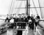 Crew of three-masted sailing vessel CARNARVON BAY on deck, Washington, ca. 1900.