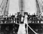 Crew of the three-masted ship CELTIC CHIEF on deck, Washington, ca. 1900.