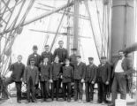 Crew of the sailing vessel CLEOMENE on deck, Washington, ca. 1900.