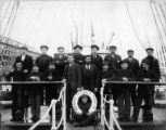 Crew of the French steel-hulled three-masted bark EDOUARD DETAILLE on deck, Washington, ca. 1900.