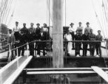 Crew of four-masted bark FORTEVIOT on deck, Washington, ca. 1900.