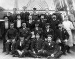 Crew of four-masted bark HOWTH on deck, Washington, ca. 1900.