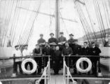 Crew of three-masted bark KILDALTON at anchor, Washington, ca. 1900