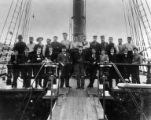 Crew of four-masted bark LORD RIPON on deck, Washington, ca. 1900