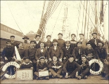 Capt. Cezard and the crew of the three-masted French bark TURGOT taken on deck, Seattle,...