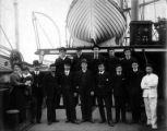 Crew on deck of sailing ship SAXON-GREENOCK, Washington, ca. 1900