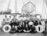 Crew on deck of sailing vessel TAMAR, Washington, ca. 1900.