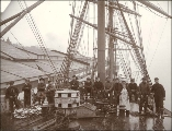 Crew of the British sailing vessel AUSTRALIAN shown on deck, Tacoma, Washington, ca. 1904.