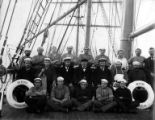 Crew of German sailing vessel BERTHA posed on deck, Washington, ca. 1900