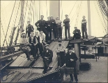 Crew  of the three-masted bark PERA(?) taken on deck, Puget Sound port, Washington, ca. 1904.