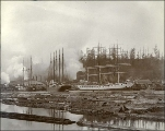 Sailing vessels at dock, Port Blakely lumber mill, Washington, ca. 1904.