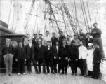 Crew of British sailing vessel GENERAL ROBERTS on deck, Washington, ca. 1900