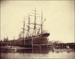 Four-masted bark LYNTON on drydock at Hall Brothers Shipyard, Eagle Harbor, Kitsap Peninsula,...