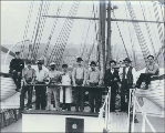 Crew of the three-masted ship GLENHOLM taken on deck, Puget Sound port, Washington, ca. 1904.