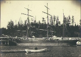 Three-masted bark KATE F. TROOP at dock, probably Port Blakely, Washington, ca. 1904.