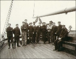 Crew of the sailing vessel CITY OF FLORENCE standing on the deck, Washington, ca. 1904.