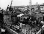 Construction of the new Seattle Aquarium underway at Pier 59, Seattle, Washington, January 16, 1975