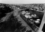 Bird's eye view of the Lake Washington Ship Canal and Fremont district from the Aurora Bridge,...