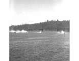 Hydroplanes racing at Seafair hydroplane races, Lake Washington, 1956