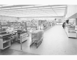 Market Basket grocery store interior, Skyway Shopping Center, 1956