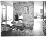 Smith house interior showing fireplace and dining area, Hilltop neighborhood, Bellevue, n.d.