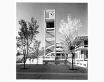 Clock tower and Library Building at Evergreen State College, Olympia, ca. 1972