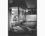 Gene Zema house patio with view into living room, Seattle, ca. 1966