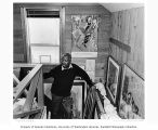 Jacob Lawrence, painter, at his studio in Seattle, April 1983