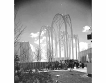 Arch sculpture at the United States Science Pavilion, Seattle World's Fair, Seattle, 1962