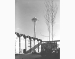 Space Needle viewed over roof of Playhouse under construction, Seattle World's Fair, Seattle, ca....