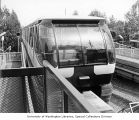 Monorail at the station in Seattle Center, Seattle, Washington, June 5, 1973