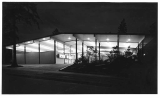 Entrance to North East branch of Seattle Public Library at night, ca. 1954