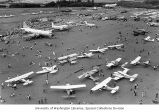 Planes on display at the Washington International Air Fair at Paine Airfield, Everett, Washington,...