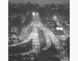 Freeway leading to Lake Washington Floating Bridge from the air, Seattle, n.d.