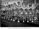 Chinese Community Girls Drill Team marching in the Chinatown Seafair Parade in Seattle,...