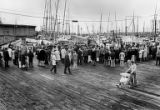 Crowd gathered at the Fisherman's Terminal in Ballard to observe the blessing of fleet during the...