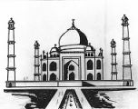 Conjectural sketch with enlarged minars and one story added, the Taj Mahal, Agra, Uttar Pradesh,...