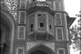 Arch of the Kanch Mahal's central portal, with a jharokha, Sikandara region of Agra, Uttar...