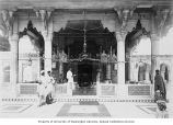 People in the interior of the Tomb of Jahanara, daughter of Shah Jehan, Delhi, ca. 1921