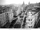Bird's-eye view of Rio de Janeiro, including the Hotel Avenida, as seen from the roof of the...