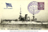 Commemoration card of the visit of American fleet showing the U.S.S. ILLINOIS, Japan, 1908