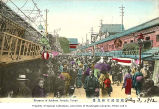 Entrance to the Asakusa Kannon Temple showing shops and businesses, Tokyo, Japan, ca. 1912