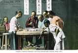 Chinese men gathered around a table playing fantan, a gambling game, Hong Kong,  ca. 1913